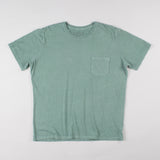 angle hover: green  Raleigh Denim Workshop cotton/modal pocket crew neck tee in green, front flat view