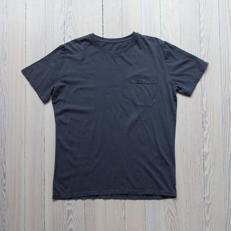 angle hover: space blue  Raleigh Denim Workshop a cotton pocket crew neck tee in space blue
