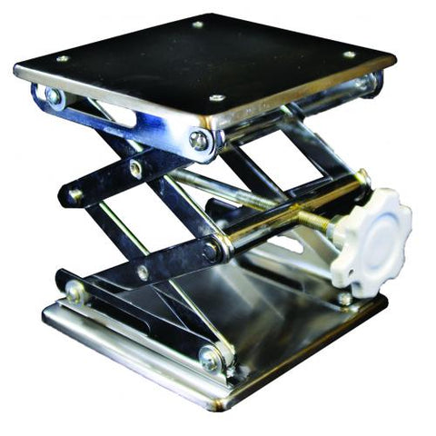 Laboratory Scissor Jack - 152 x 152mm Stainless Steel Square Plate | Cambridge Environmental