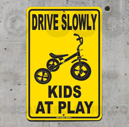 AA472 Drive Slowly Kids At Play - Tricycle - Seaweed Surf Co