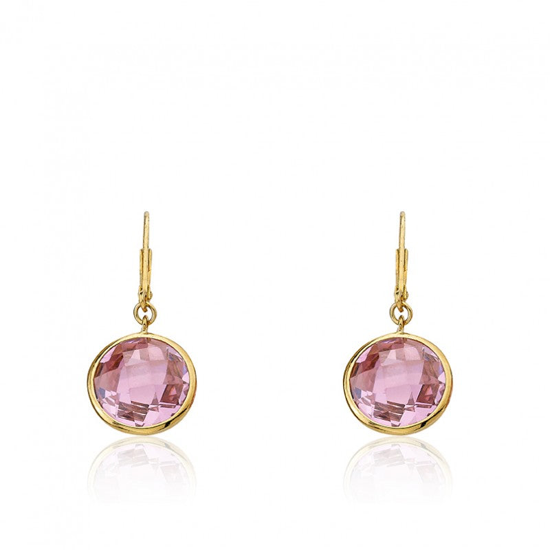 ARCTIC MIST Round Briolet Gold Earrings