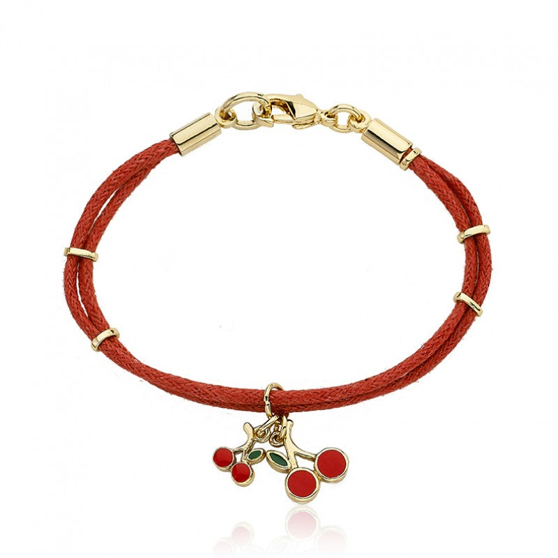 CHERRY CHIC Nylon & Cherry Charms Bracelet