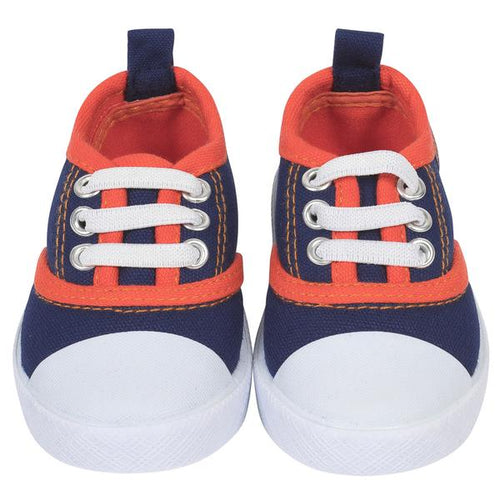 Sporty Baby Boys' Lace Up Navy and Orange Canvas Shoe