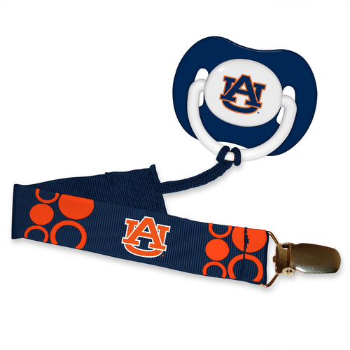 Auburn Tigers Pacifier with Clip