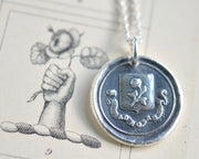 damask rose wax seal necklace