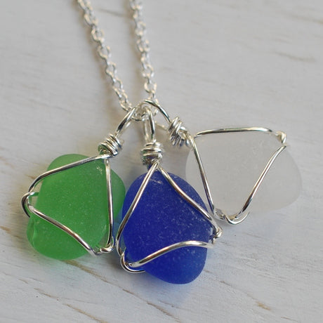 sea glass charm necklace
