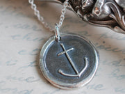 anchor wax seal necklace - hope, salvation, stability - wax seal jewelry