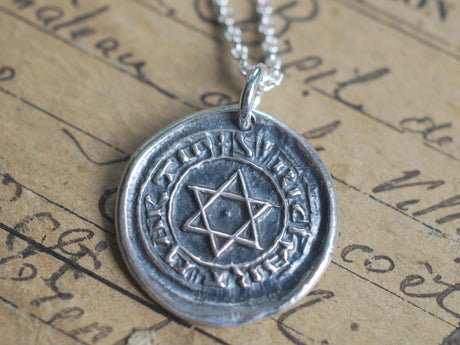 star of david wax seal necklace