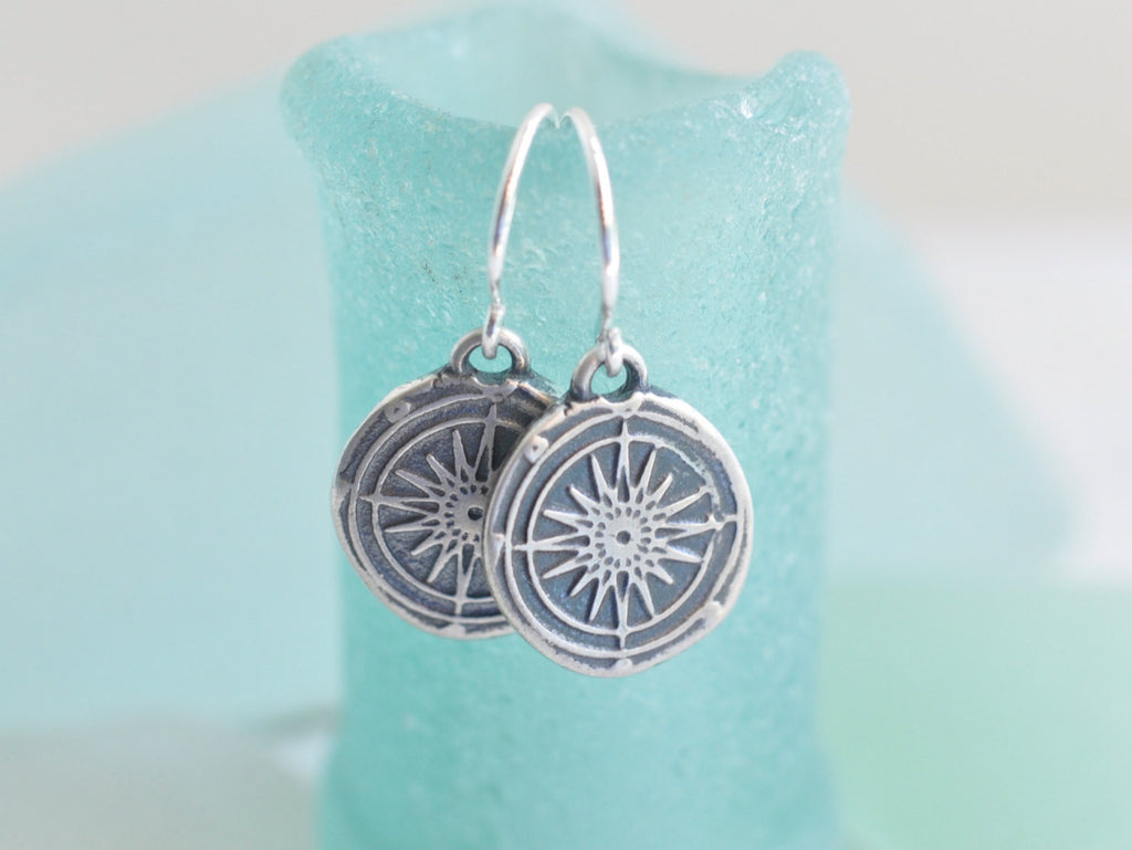 compass wax seal earrings