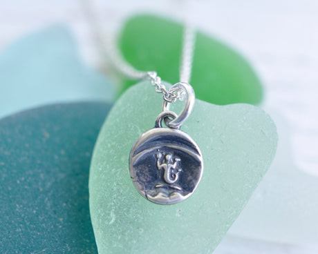 tiny mermaid wax seal necklace