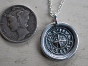 cross wax seal necklace - medieval wax seal jewelry