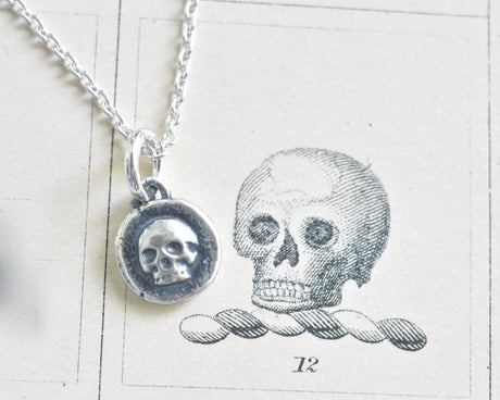 tiny skull wax seal necklace