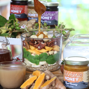 Ginger honey spiced medicinal breakfast bowl drizzle