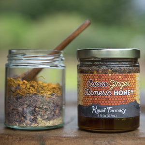 Cacao Ginger Turmeric Honey kauai 2oz of dried herbs per 6oz jar