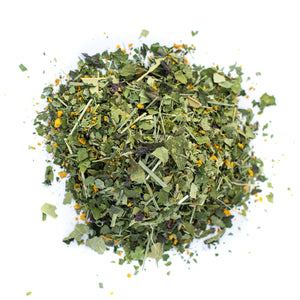 Kauai Farmacy vitalitea energy organic herbal tea blend mulberry leaf turmeric cinnamon lemongrass moringa tulsi yacon noni gotu kola rosemary detail