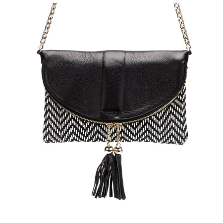 CHISWICK - Addison Road Black & White Weave Crossbody Bag - Addison Road