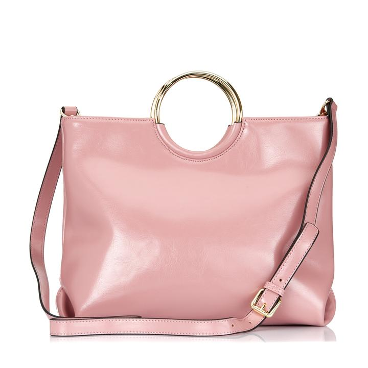 MILLFIELD Pink  Structured Leather Ring Handle Bag - Addison Road