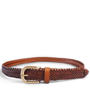 ERSKINVILLE- Womens Tan Leather Braided Belt with Gold Buckle - Addison Road