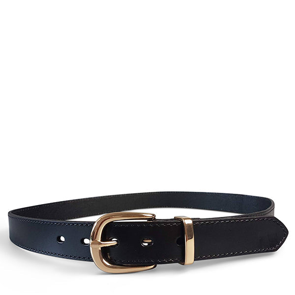 POINT PIPER - Addison Road Black Genuine Leather Belt with Gold Buckle - Addison Road