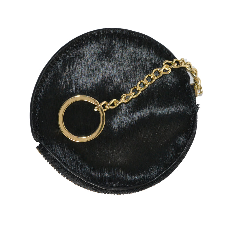 LORN- Black Cowhide Coin Purse with Keyring - Addison Road
