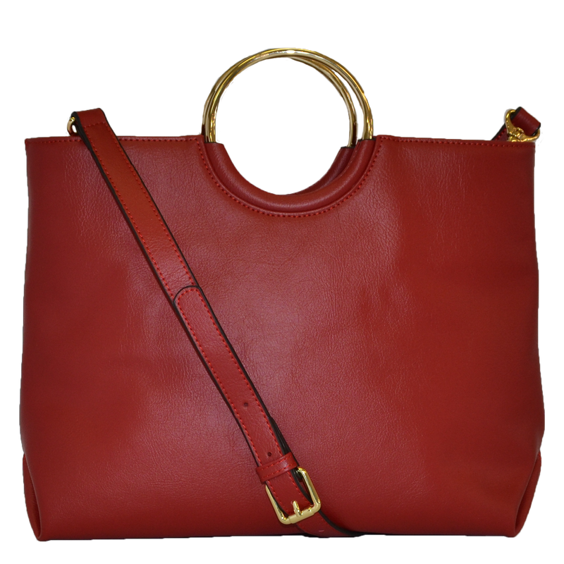 MILLFIELD Red Structured Leather Ring Handle Bag - Addison Road