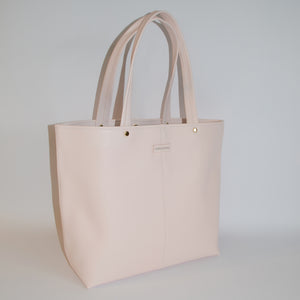 CORAL BAY-  Blush Soft Leather Shopper Tote Bag