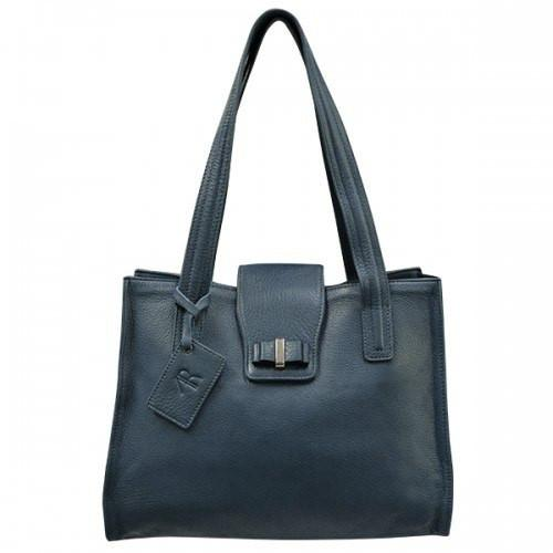 KILLARA - Womens Medium Genuine Leather Navy Handbag