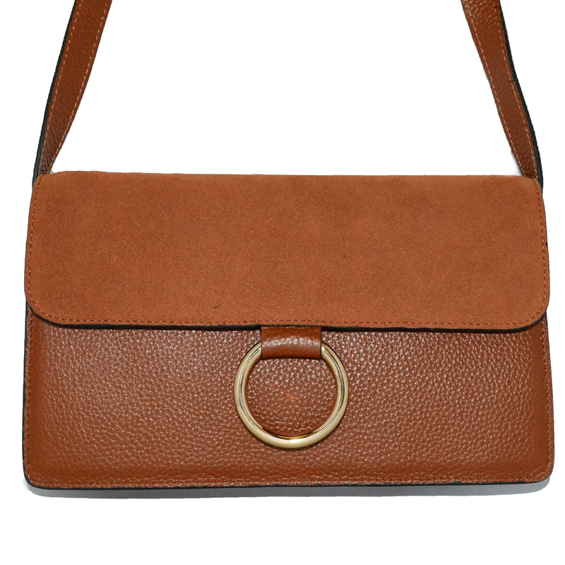 COBURG - Tan Pebbled Leather and Suede Mini Cross-body Gold Ring Bag - Addison Road