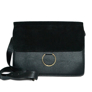 LEICHHARDT- Addison Road Black Pebbled Leather & Suede Shoulder Bag