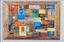 Stacked Reclaimed Boat Wood Wall Art