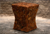 Stacked Teak Hourglass Wood Stool