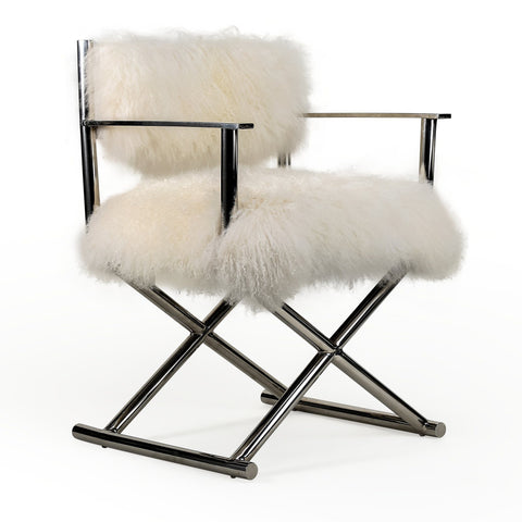 WHITE MONGOLIAN FUR DIRECTORS CHAIR Philbee Interiors