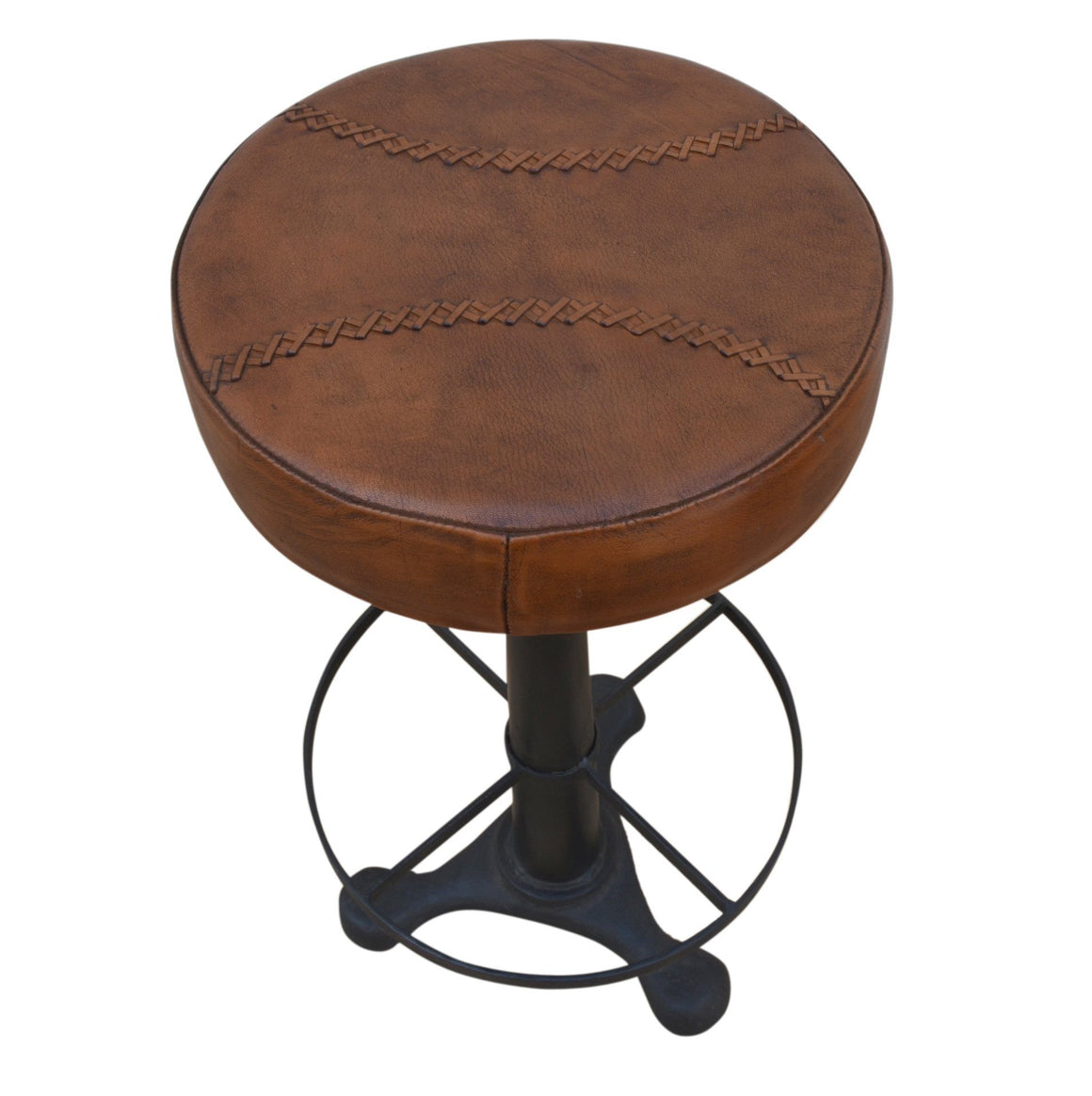 INDUSTRIAL BAR STOOL LEATHER SEAT Philbee Interiors