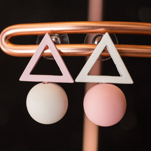 Triangle + Ball earrings