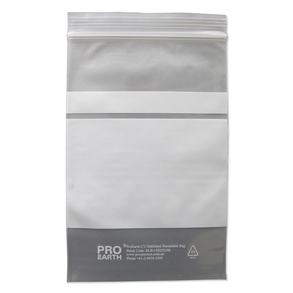 ProEarth UV Stabilised Zip Lock Plastic Bags with Patch 150 X 225mm X 100um 100 Bags