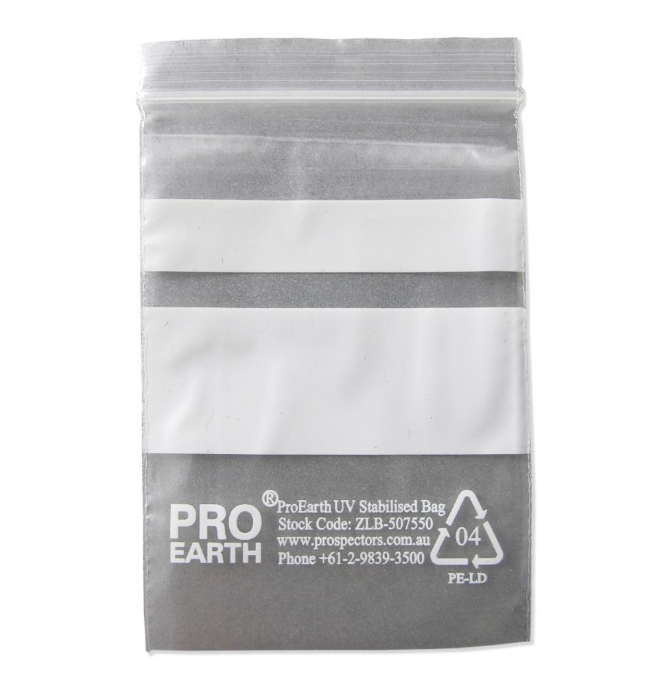 ProEarth UV Stabilised Zip Lock Plastic Bags with Patch 50 X 75mm X 50um 100 Bags