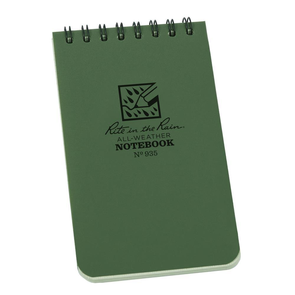 Rite in the Rain 935, All Weather Green Universal Polydura Notebook, 76mm x 127mm