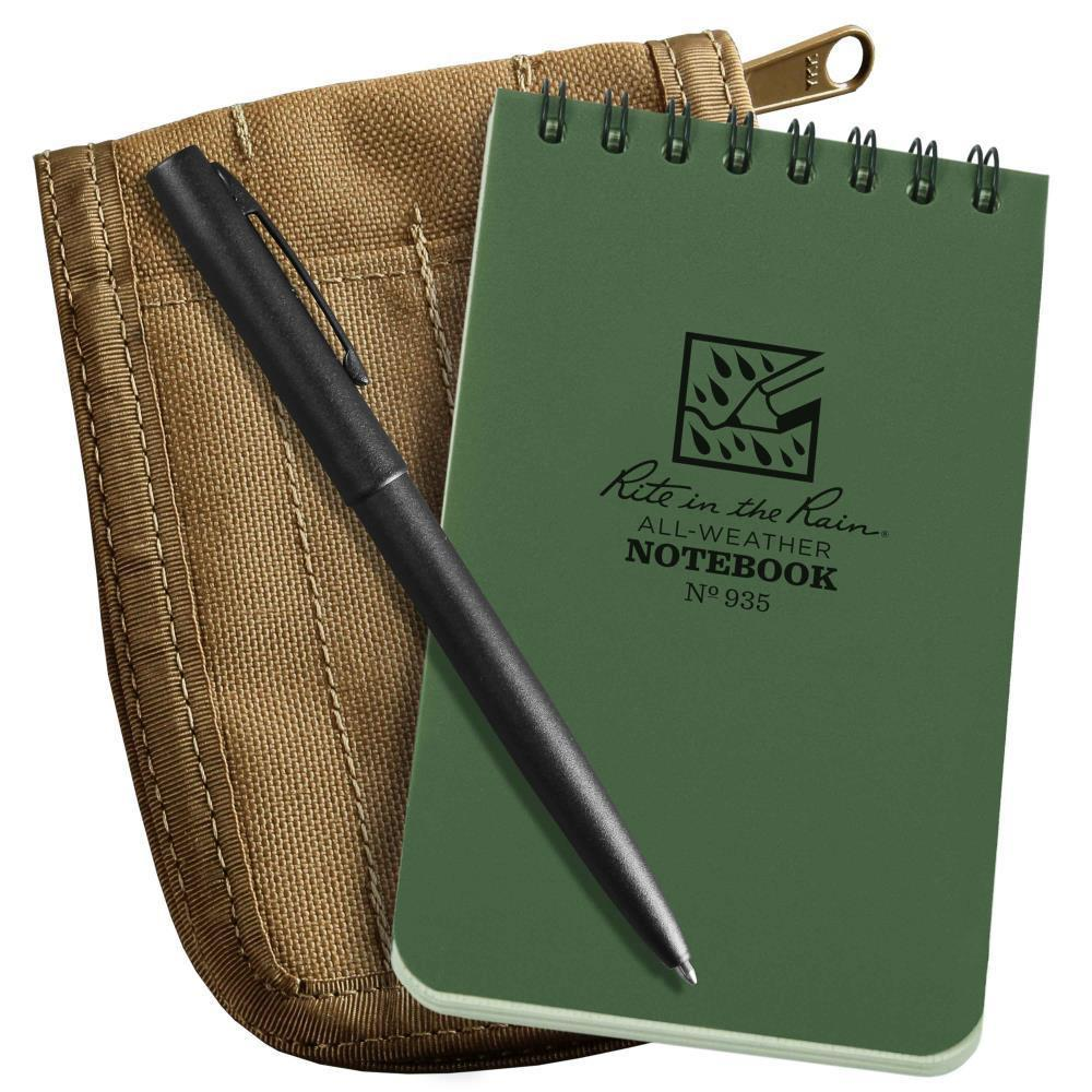 Rite in the Rain 935-KIT, All Weather Green Universal 76mm x 127mm in Kit, Tan Cordura Fabric Cover, Black All Weather Pen