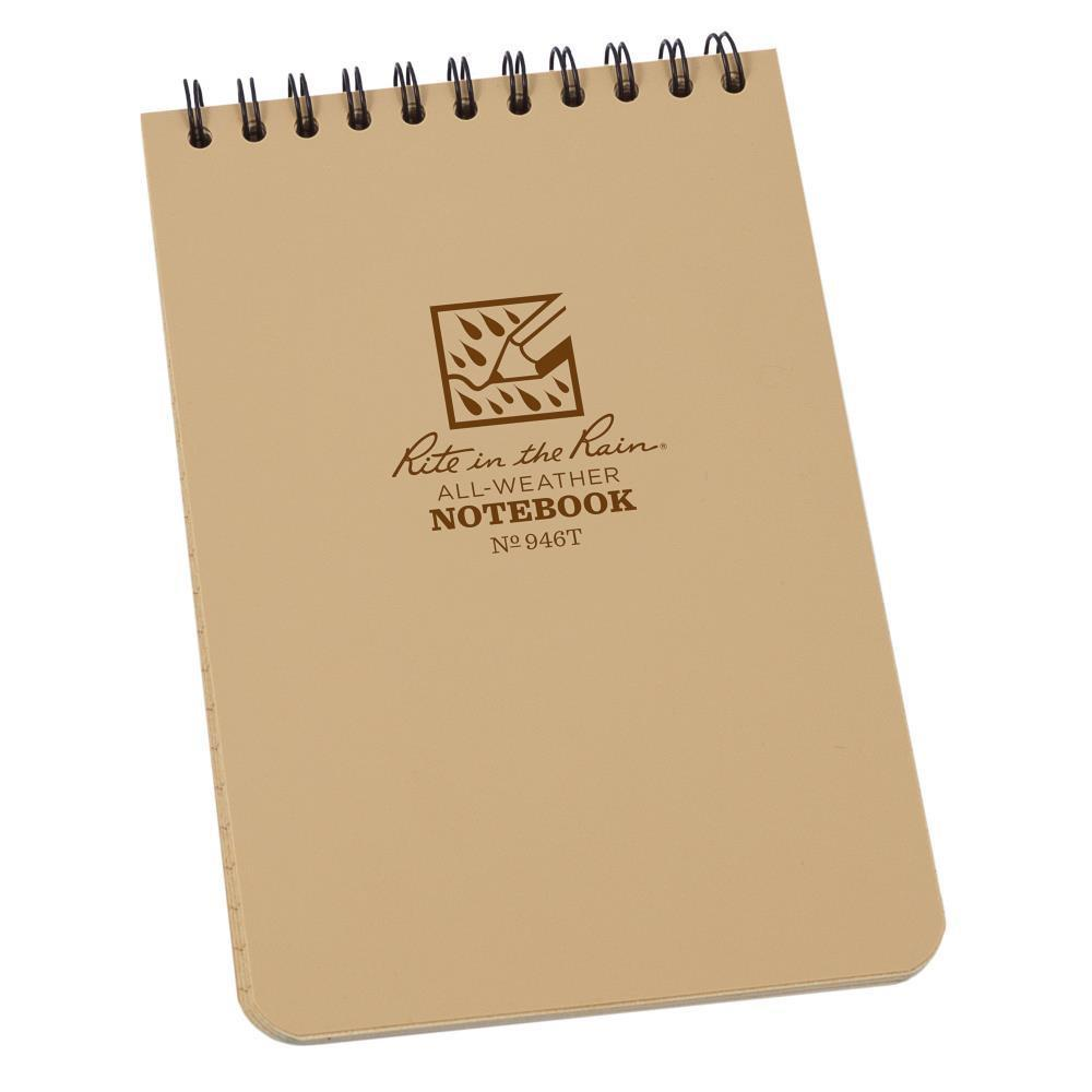 Rite in the Rain 946T, All Weather Tan Universal Polydura Notebook, 102mm x 152mm
