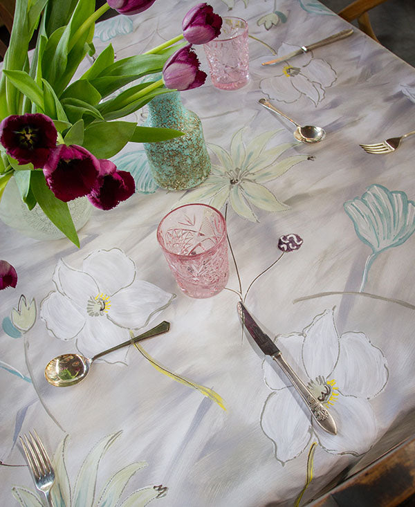 Flower Garden in Neutral Tones Tablecloth