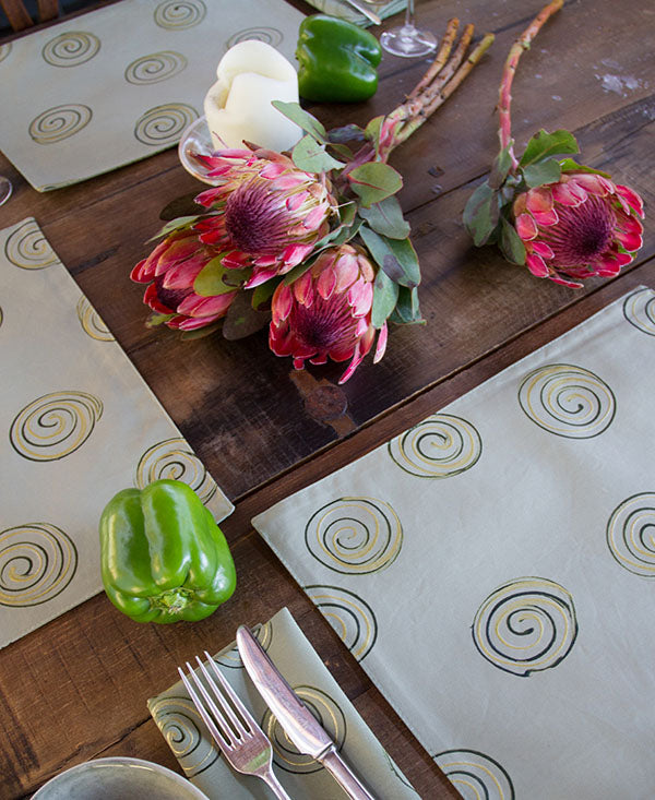 Gold Swirls on Taupe Placemats