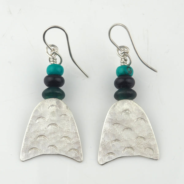 Gough, Duibhne – Onyx, Turquoise and Silver Earrings | Duibhne Gough | Primavera Gallery
