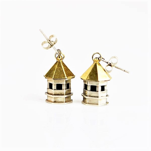 Ambery-Smith, Vicki – Silver and Gold Earrings, Birdhouse | Vicki Ambery-Smith | Primavera Gallery