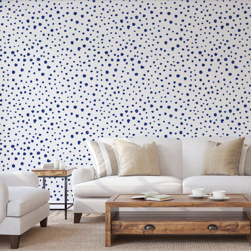 Shibori Blue Dalmatian Dots Self-Adhesive Wallpaper