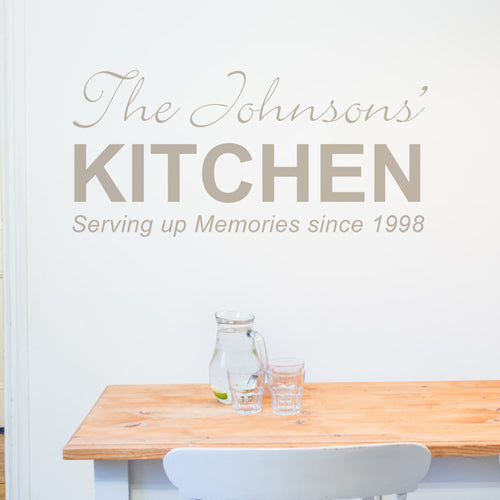 Kitchen Wall Sticker Personalised Serving up Memories since