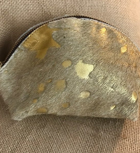 Gold Cowhide Zippered Makeup Bag