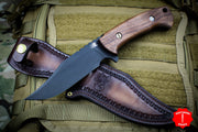 Hinderer Knives The Ranch Bowie Fixed Parkerized Black Blade Natural Walnut Handle