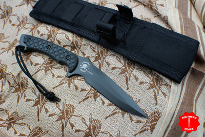 Spartan Blades Ares Fixed Blade Black with Black Handle and Black Molle Sheath