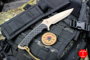 Spartan Blades Ares Fixed Blade FDE with Black Handle and Black Molle Sheath