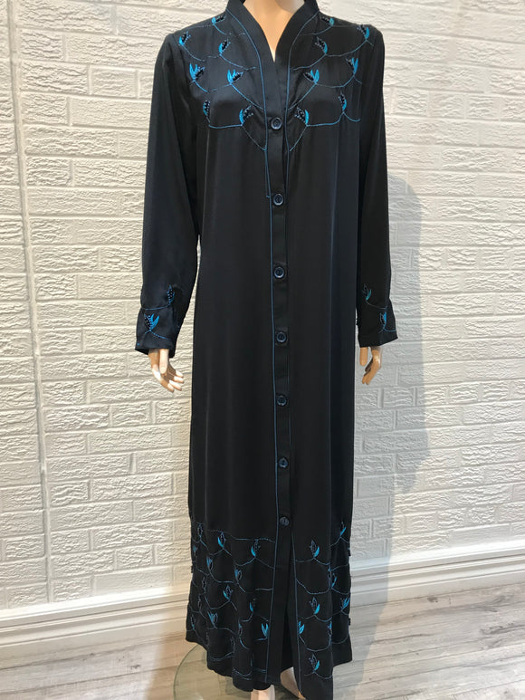 Turkish Abaya- Pearls Accent- Blue